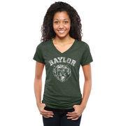 Baylor Bears Women's Truly Vintage Logo Tri-Blend V-Neck T-Shirt - Green