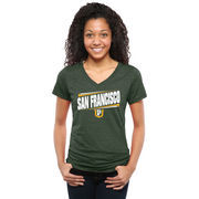San Francisco Dons Women's Double Bar Tri-Blend V-Neck T-Shirt - Green
