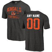 Men's Black Cincinnati Bengals Distressed Custom Name & Number Tri-Blend T-Shirt
