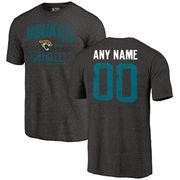 Men's Black Jacksonville Jaguars Distressed Custom Name & Number Tri-Blend T-Shirt