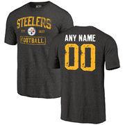 Men's Black Pittsburgh Steelers Distressed Custom Name & Number Tri-Blend T-Shirt