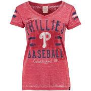 Philadelphia Phillies 5th & Ocean by New Era Women's Burnout V-Neck T-Shirt - Red