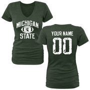 Michigan State Spartans Women's Personalized Distressed Football Tri-Blend V-Neck T-Shirt - Green