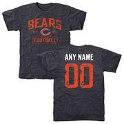 Men's Chicago Bears Navy Distressed Custom Name & Number Tri-Blend T-Shirt
