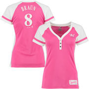 Ryan Braun Milwaukee Brewers Majestic Women's Splash Player League Diva T-Shirt - Pink/White