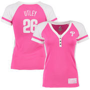 Chase Utley Philadelphia Phillies Majestic Women's Splash Player League Diva T-Shirt - Pink/White