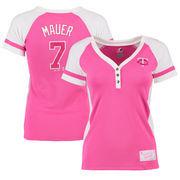 Joe Mauer Minnesota Twins Majestic Women's Splash Player League Diva T-Shirt - Pink/White