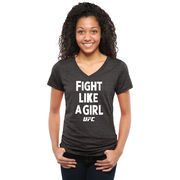 UFC Women's Fight Like A Girl Tri-Blend V-Neck T-Shirt - Black