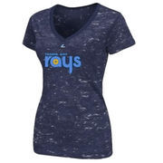Tampa Bay Rays Majestic Women's 70s V-Neck T-Shirt - Navy