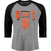 San Francisco Giants Majestic Threads Three-Quarter Sleeve Heather Raglan T-Shirt - Gray/Black