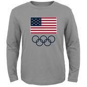 Team USA Flag and Team Long Sleeve T-Shirt - Heather Grey
