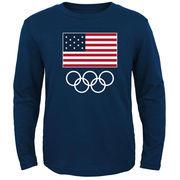 Team USA Flag and Team Long Sleeve T-Shirt - Navy