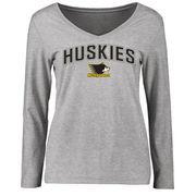 Michigan Tech Huskies Women's Proud Mascot Long Sleeve T-Shirt - Ash