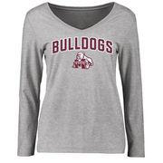 Mississippi State Bulldogs Women's Proud Mascot Long Sleeve T-Shirt - Ash