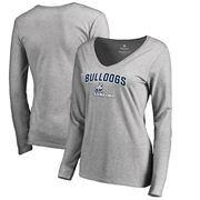 Samford Bulldogs Women's Proud Mascot Long Sleeve T-Shirt - Ash