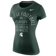 Michigan State Spartans Women's 2016 College Football Playoff Bound Team Slogan T-Shirt - Green