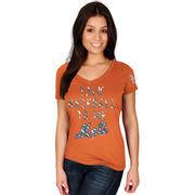 New York Mets Majestic Women's Extraordinary Achievement V-Neck T-Shirt - Orange