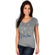 New York Yankees Majestic Women's Extraordinary Achievement V-Neck T-Shirt - Gray
