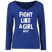 UFC Women's Fight Like A Girl Long Sleeve T-Shirt - Royal