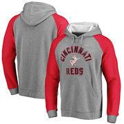 Cincinnati Reds Comfort Colorblock Vintage Raglan Hoodie - Gray