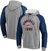 Minnesota Twins Comfort Colorblock Vintage Raglan Hoodie - Gray
