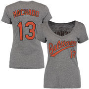 Manny Machado Baltimore Orioles Majestic Threads Women's Name and Number V-Neck T-Shirt - Gray
