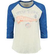 New York Mets Majestic Threads Women's 2015 League Champions Three-Quarter Raglan Sleeve Tri-Blend T-Shirt - Cream/Royal