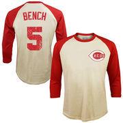 Johnny Bench Cincinnati Reds Majestic Threads Softhand Cotton Cooperstown 3/4-Sleeve Raglan T-Shirt - Cream