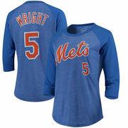 David Wright New York Mets Majestic Threads Women's 3/4-Sleeve Raglan Name & Number T-Shirt - Royal