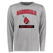 Ball State Cardinals Big & Tall Campus Icon Long Sleeve T-Shirt - Ash