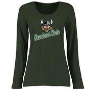 Cleveland State Vikings Women's Plus Sizes Slant Script Long Sleeve T-Shirt - Green