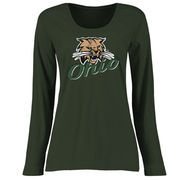 Ohio Bobcats Women's Plus Sizes Slant Script Long Sleeve T-Shirt - Green