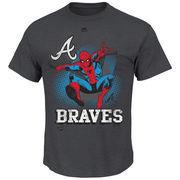 Atlanta Braves Majestic Marvel Spiderman T-Shirt - Charcoal