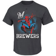 Milwaukee Brewers Majestic Marvel Spiderman T-Shirt - Charcoal