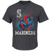 Seattle Mariners Majestic Marvel Spiderman T-Shirt - Charcoal