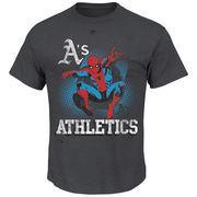 Oakland Athletics Majestic Marvel Spiderman T-Shirt - Charcoal