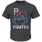 Pittsburgh Pirates Majestic Marvel Spiderman T-Shirt - Charcoal