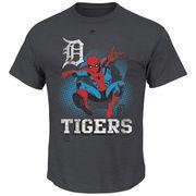 Detroit Tigers Majestic Marvel Spiderman T-Shirt - Charcoal
