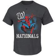 Washington Nationals Majestic Marvel Spiderman T-Shirt - Charcoal