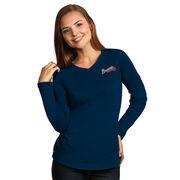 Atlanta Braves Antigua Women's Flip Long Sleeve T-Shirt - Heather Navy