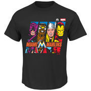 Miami Marlins Majestic Marvel Marks of Hero T-Shirt - Black
