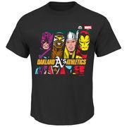 Oakland Athletics Majestic Marvel Marks of Hero T-Shirt - Black