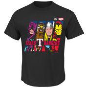 Texas Rangers Majestic Marvel Marks of Hero T-Shirt - Black