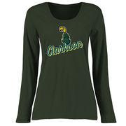 Clarkson Golden Knights Women's Plus Sizes Slant Script Long Sleeve T-Shirt - Green