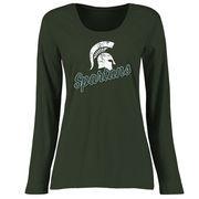 Michigan State Spartans Women's Plus Sizes Slant Script Long Sleeve T-Shirt - Green
