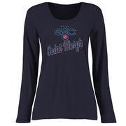 Saint Mary's Gaels Women's Plus Sizes Slant Script Long Sleeve T-Shirt - Navy
