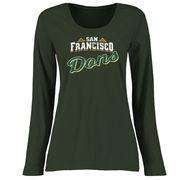 San Francisco Dons Women's Plus Sizes Slant Script Long Sleeve T-Shirt - Green