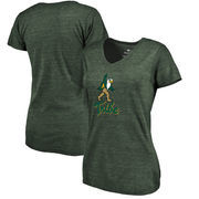William & Mary Tribe Women's Auxiliary Logo Tri-Blend V-Neck T-Shirt - Green