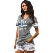 Andrew Luck Indianapolis Colts Majestic Women's Key Performance Name and Number Tri-Blend V-Neck T-Shirt - Gray