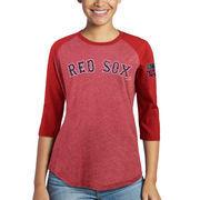 David Ortiz Boston Red Sox Majestic Threads Women's Retirement 3/4-Sleeve Tri-Blend T-Shirt - Red